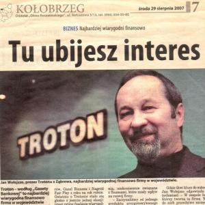 Najbardziej wiarygodni finansowo (Głos Koszaliński 29.08.2007)