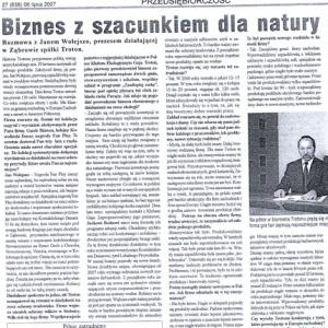 Biznes z szacunkiem dla natury (Gazeta Kołobrzeska 06.07.2007)